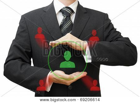 Businessman Protecting Customer  Or Human Resources From Competition
