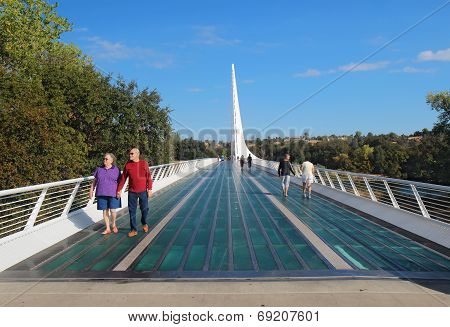 Sundial Bridge Over The Sacramento River In Redding, California
