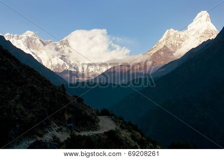 Evening View Of Ama Dablam, Mount Everest And Lhotse - Way To Everest Base Camp - Nepal