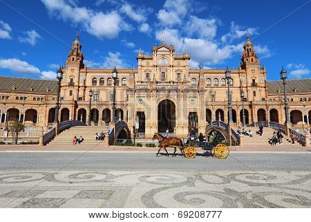 Horse-drawn Carriage At The Plaza De Espana In Seville, Spain