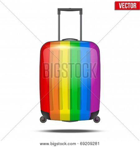 Classic Rainbow Plastic Luggage Suitcase For Air Or Road Travel