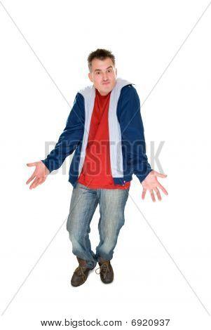 Decepcionar encogiéndose de hombros de hombres aislado en blanco