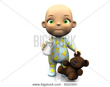 Cute Cartoon Baby Holding A Teddy Bear And Baby Bottle.