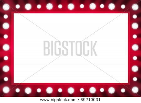 Red Back stage Light Mirror with White Space Background Frame.