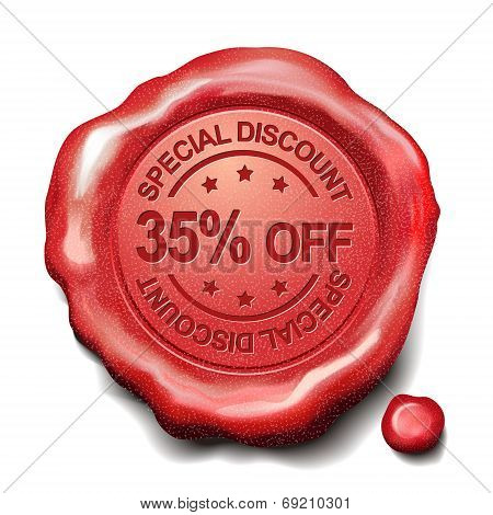35 Percent Off Red Wax Seal
