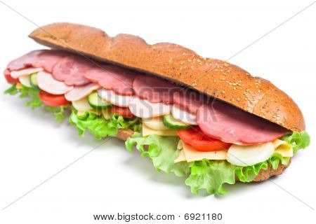 Long Whole Wheat Baguette Sandwich