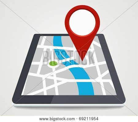 Mobile Phone With Pointer On Screen, Gps Concept In Flat Style