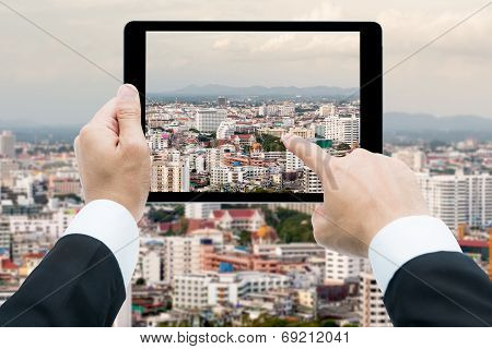 Businessman Hands Tablet Taking Pictures View Edifice Of City