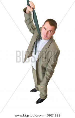 Empresario colgando de corbata con lengua