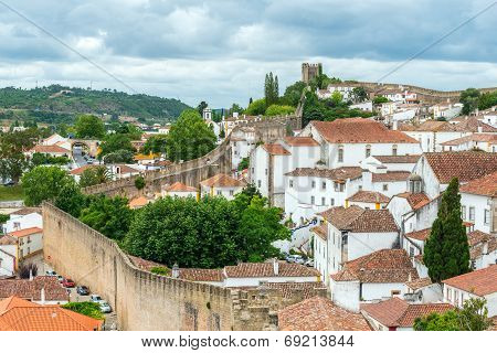 Rooftops, Houses And Old City Wall, Obidos (portugal)