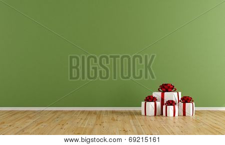 Empty Green Room With Gift