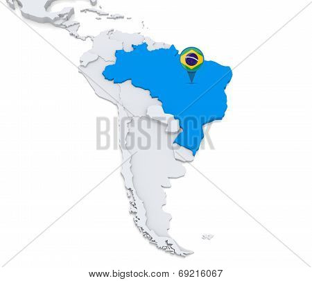 Brazil On A Map Of South America