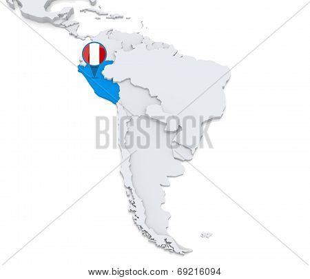 Peru On A Map Of South America