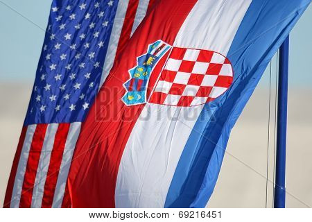 Croatian And American National Flags