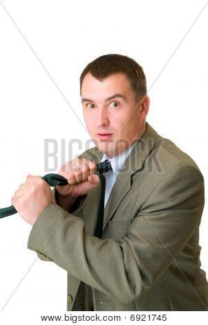 Afraid Businessman Strangle Tie