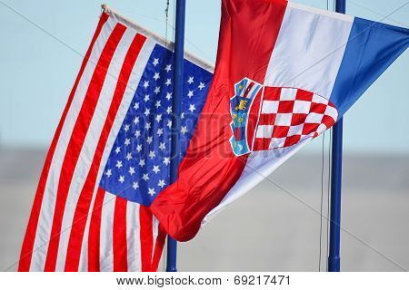 Croatian And American Flags Waving