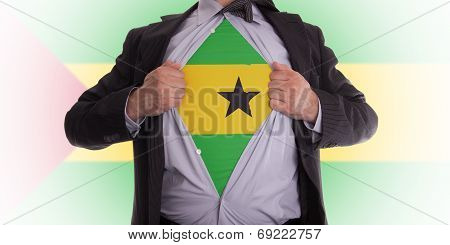 Businessman With Sao Tome And Principe Flag T-shirt