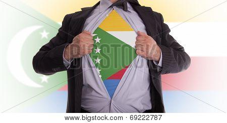 Businessman With The Comoros Flag T-shirt