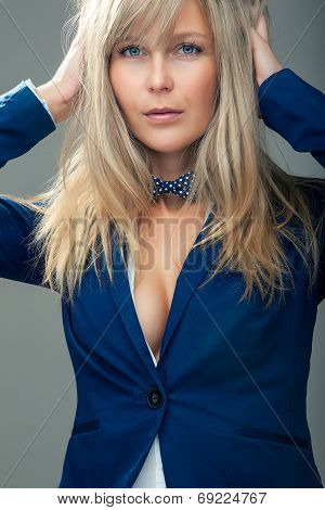 Attractive Business Woman In Blue Jacket