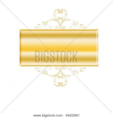 Golden Banner With Swirls