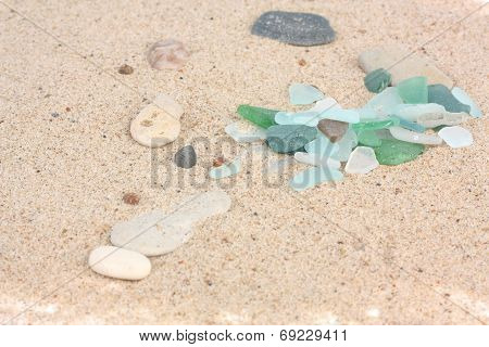 Sand Texture With Pieces Of Glass