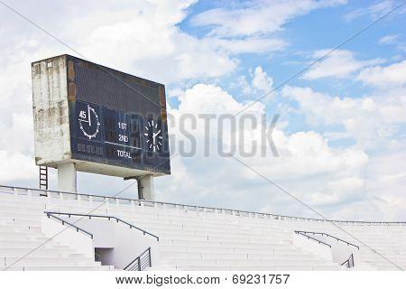 Old Scoreboard And Bleacher.