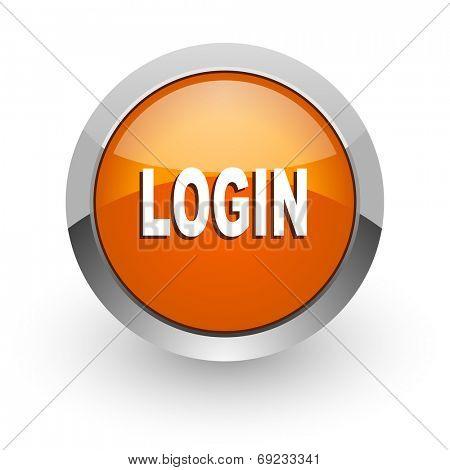 login orange glossy web icon