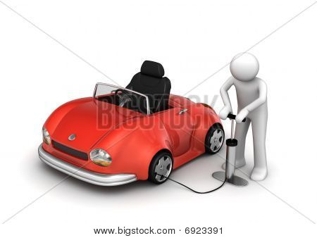 Man Pumping Red Cabrio's Tyre