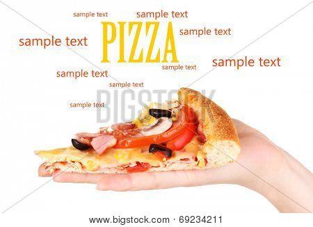 Slice of tasty pizza in hand