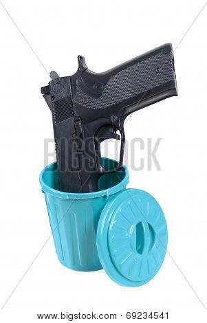 Handgun In A Garbage Container