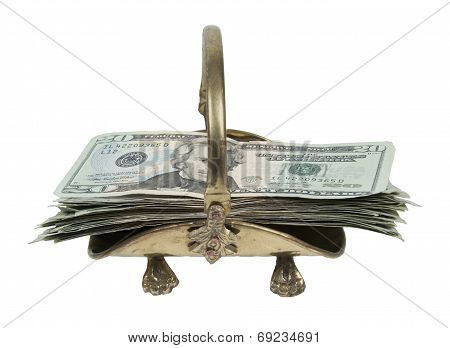 Stack Of Money In A Brass Carrier