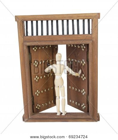 Opening Wooden Castle Door With Wooden Bar Lock