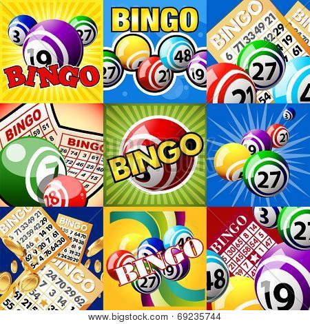 Bingo or lottery balls and cards. The set of designs