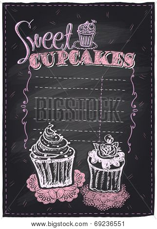 Sweet cupcakes chalkboard menu with place for text. Eps10