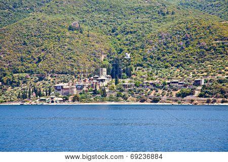 Dochiariou scenic medieval Orthodox monastery at Mount Athos, Agion Oros (Holy Mountain), Chalkidiki, Greece.