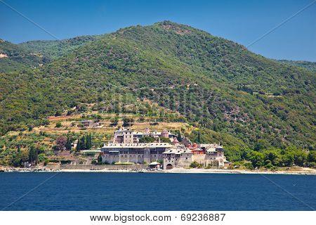 Xenophontor monastery, scenic medieval Orthodox monastery at Mount Athos, Agion Oros (Holy Mountain),  Greece.