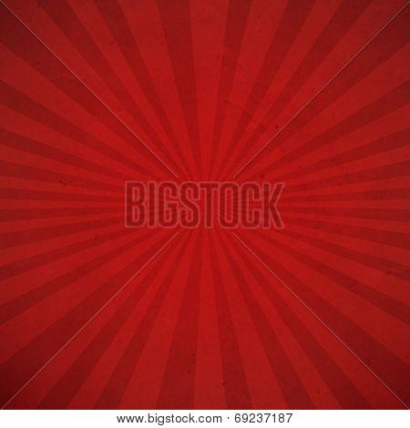 Red Sunburst Background, With Gradient Mesh, Vector Illustration