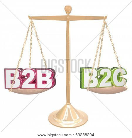 B2B vs B2C acronyms or abbreviation letters on a gold scale comparing sales to businesses or consumers