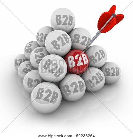 B2B abbreviation or acronym on balls in a 3d pyramid and arrow in one red ball targeting business sales to other companies