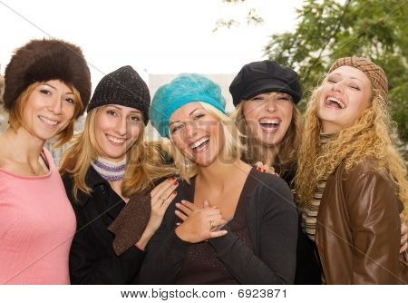 Group of happy friends having fun outdoors