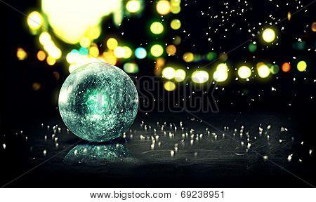 Blue Orb Snow 3D Bokeh City Background