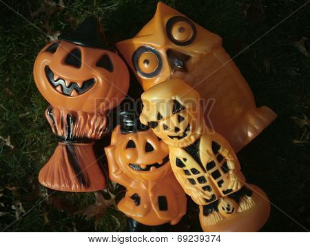 Collection of retro plastic mid century Halloween decorations