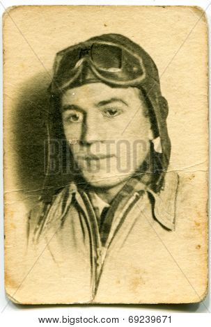 POLAND, JANUARY 9, 1936 - Vintage photo of pilot in aviator hat and googles