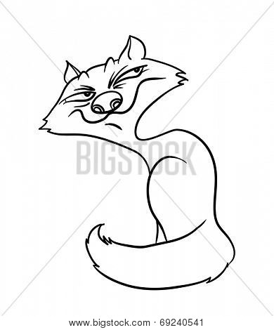sly fox, contour vector illustration