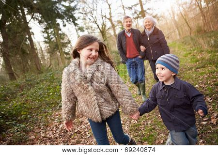 Grandparents With Grandchildren On Walk In Countryside