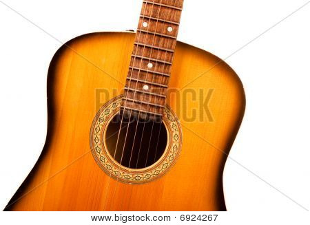 Acoustic Guitar Central Part Closeup