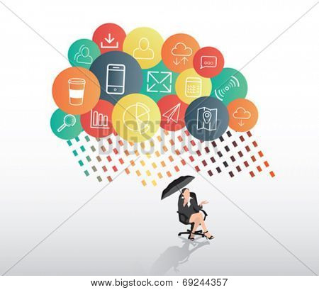 Digitally generated Businesswoman sheltering from app cloud