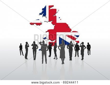 Digitally generated Business people standing under great britain graphic