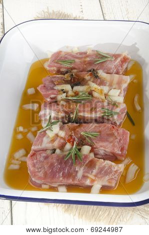 Ribs With Marinade In A Bowl