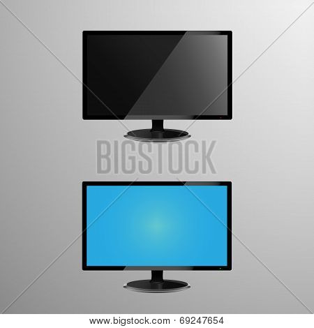 Realistic illustration of an LCD monitor with editable screen, plus screen when its idle or off
